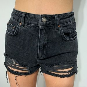 Top shop black ripped shorts size 4